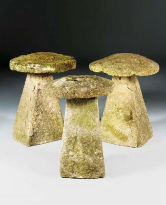 A group of three stone staddle