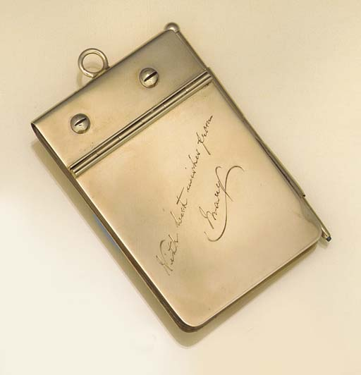 A 9CT. GOLD-MOUNTED AIDE-MEMOI