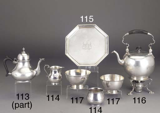 A GEORGE V SILVER TEAPOT AND S