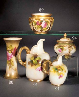Two Royal Worcester flared bea