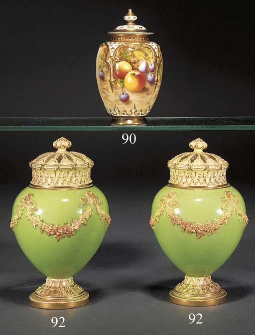 A Royal Worcester oviform pot