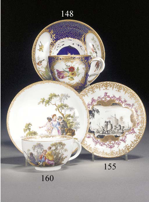 A Meissen blue-ground cup and