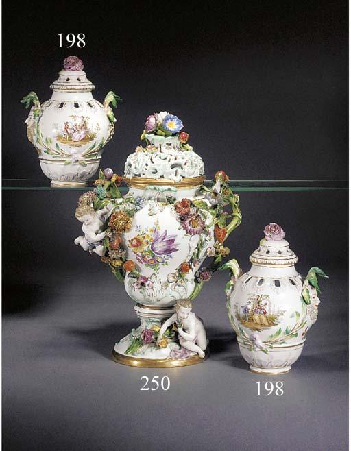 A pair of German porcelain ovi