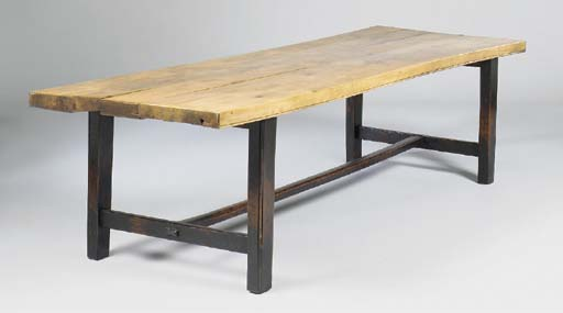 A BEECHWOOD REFECTORY TABLE, L