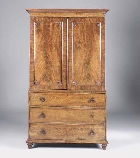 A William IV mahogany linen pr