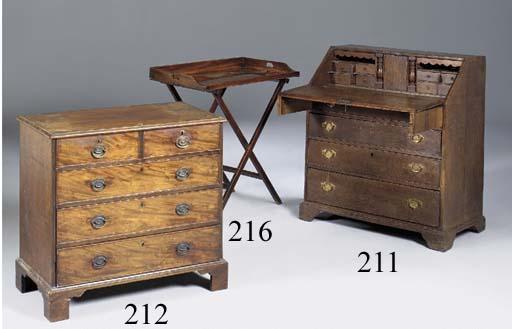 An oak bureau, 18th century