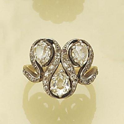 A drop-cut diamond three stone