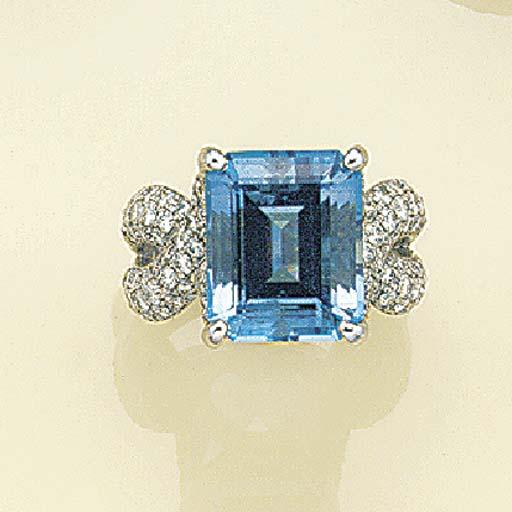An aquamarine and diamond ring