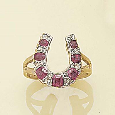 A ruby and rose-cut diamond ri
