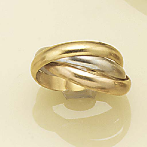 An 18ct. three colour gold tri