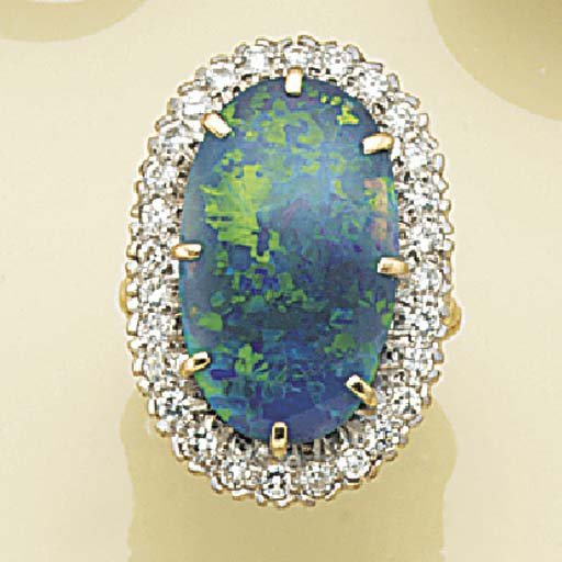A black opal and diamond clust