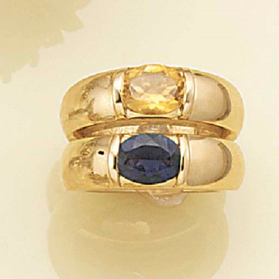 A pair of gem single stone rin