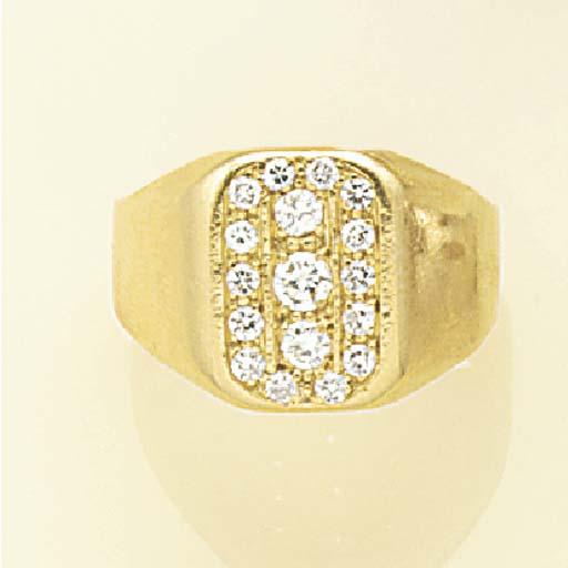 A diamond signet ring,
