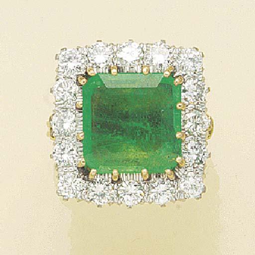 A rectangular emerald and diam