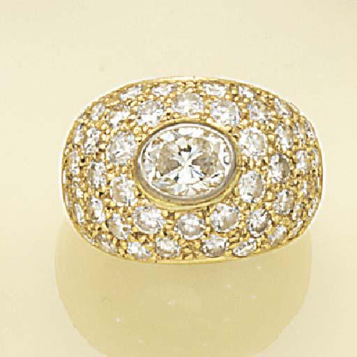 An oval diamond and diamond cl