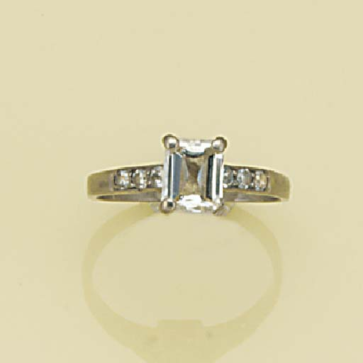 A rectangular-cut diamond soli