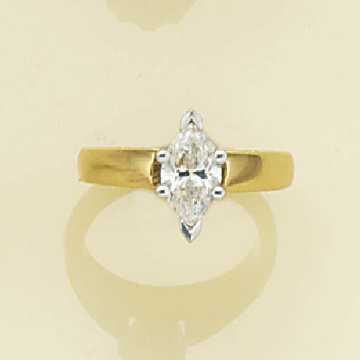 A marquise-cut diamond solitai