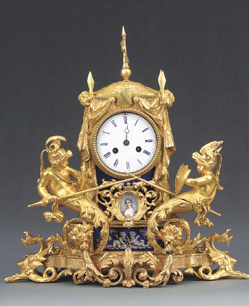A French gilt-bronze and ename