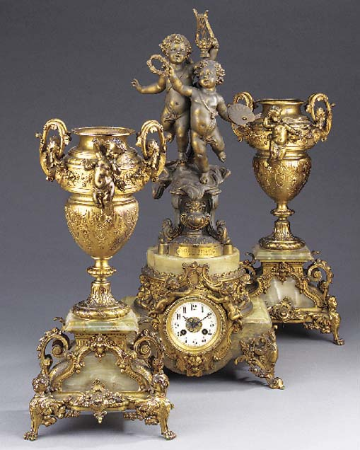 A French gilt-spelter and gree