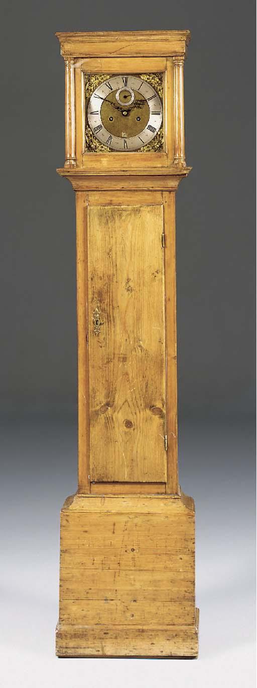 A pine longcase clock