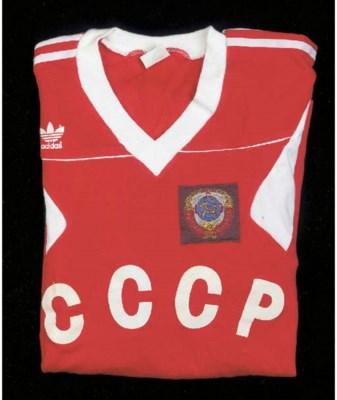 A red and white USSR Internati