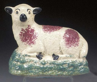 A pearlware model of a sheep