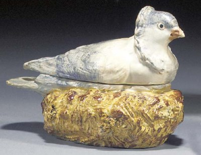 A pearlware dove tureen and co