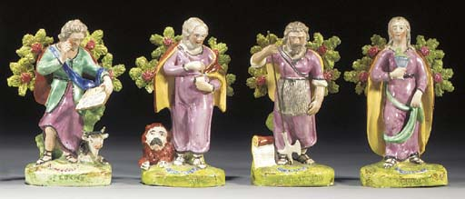 Four pearlware figures of the