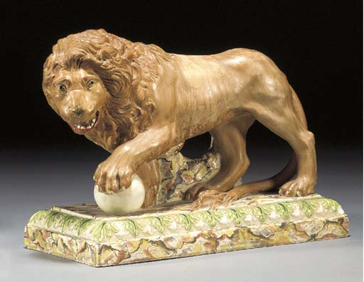 A pearlware model of a lion