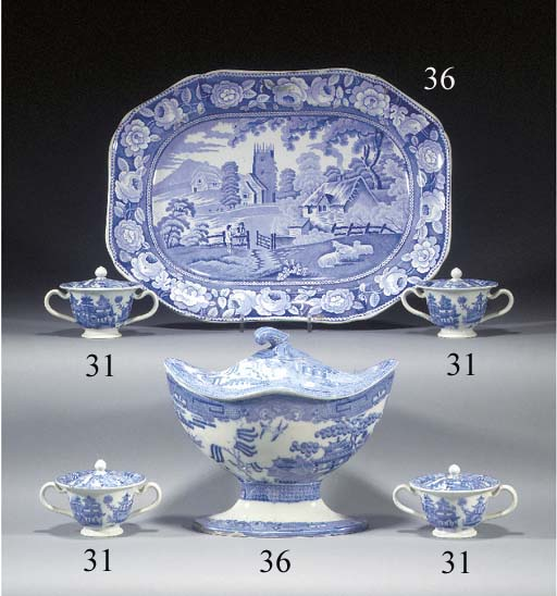 Four blue and white two handle