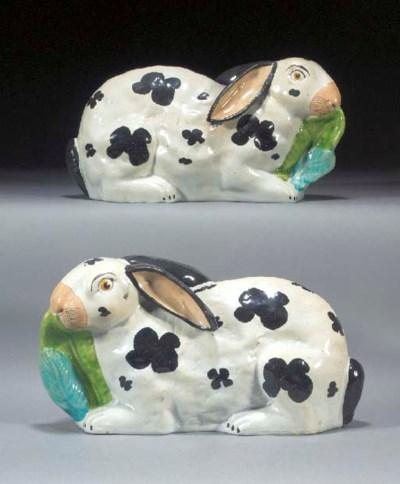 A pair of models of rabbits