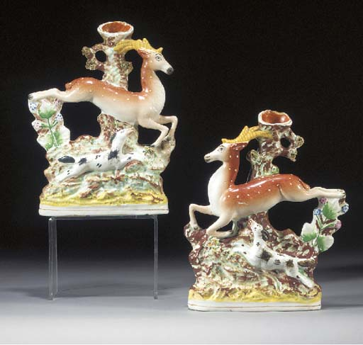 Two stag and hound spill vases