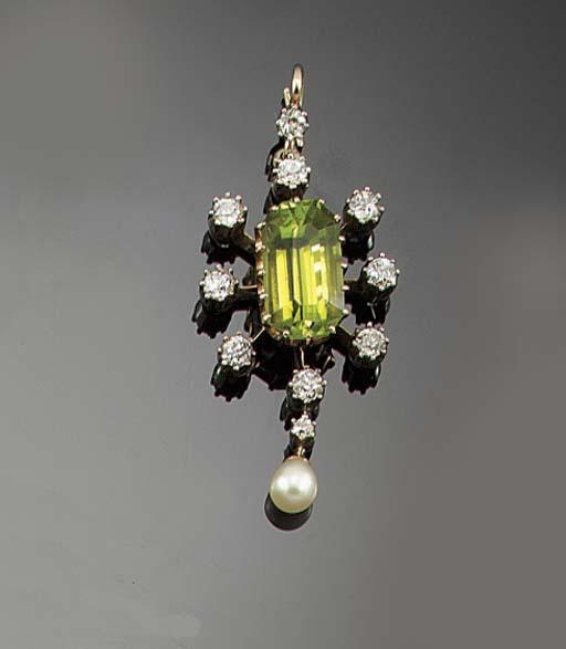 An Edwardian peridot, diamond and pearl pendant necklace,