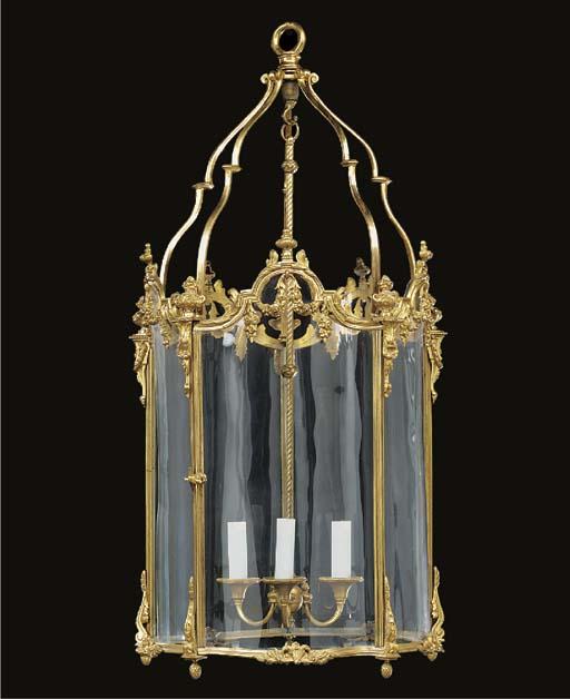 A gilt bronze pentagonal hall lantern, probably first half 20th century