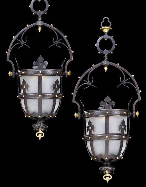 A pair of gilt and patinated bronze hall lanterns, 20th century