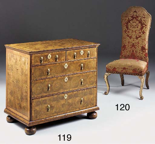 A WILLIAM AND MARY WALNUT OYSTER VENEERED, CROSSBANDED AND INLAID CHEST