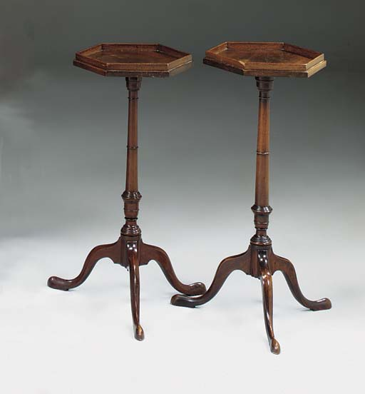 A MATCHED PAIR OF GEORGE III MAHOGANY OCCASIONAL OR WINE TABLES