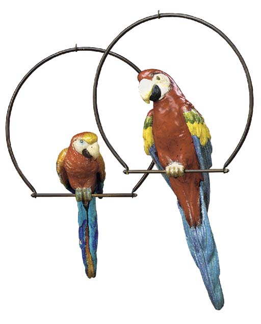 Two polychrome majolica style earthenware parrots, early 20th century