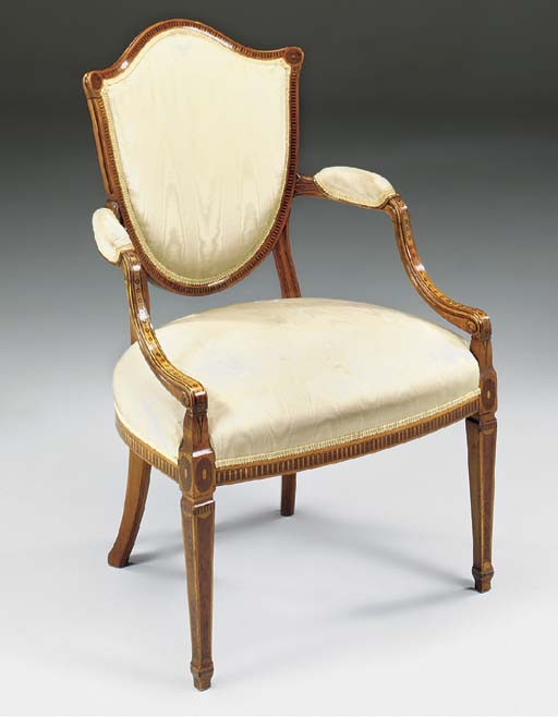 A GEORGE III SATINWOOD AND INLAID ARMCHAIR