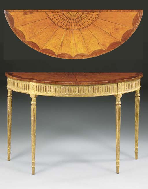 A SATINWOOD MARQUETRY AND GILTWOOD PIER TABLE, LATE 18TH/EARLY 19TH CENTURY