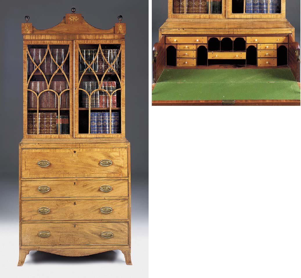 A GEORGE III MAHOGANY AND INLAID SECRETAIRE BOOKCASE