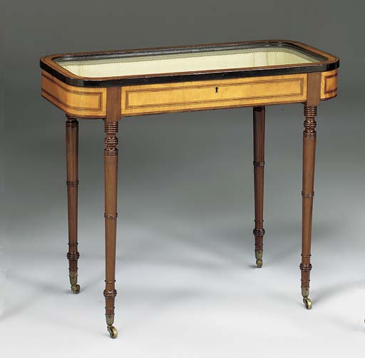 A SATINWOOD, ROSEWOOD AND INLAID BIJOUTERIE TABLE, EARLY 19TH CENTURY