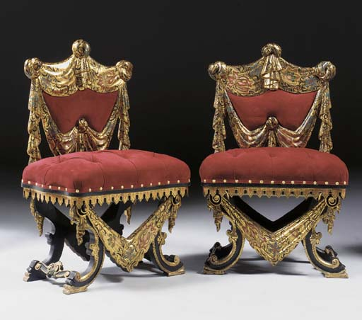 A pair of Venetian parcel-gilt polychrome chairs, late 19th century
