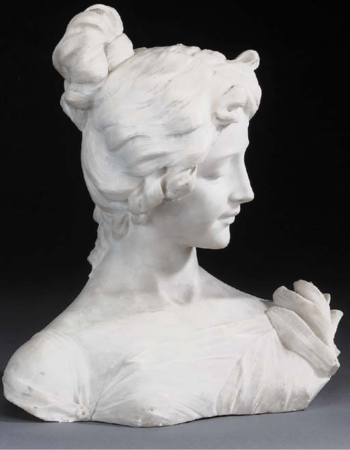 A Continental sculpted alabaster bust of a lady, late 19th century