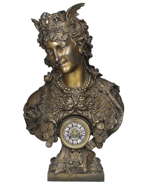 A Continental patinated spelter mantle clock, late 19th or early 20th century
