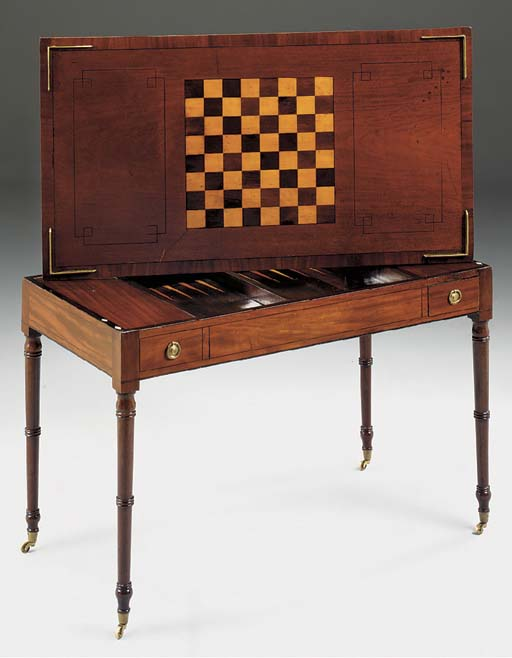 A FRENCH MAHOGANY AND INLAID TRIC TRAC TABLE, 19TH CENTURY