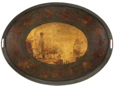An oval japanned metal tray, e