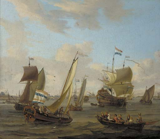 Ships-in-the-roads-of-Amsterdam   Painting, Art, Photo