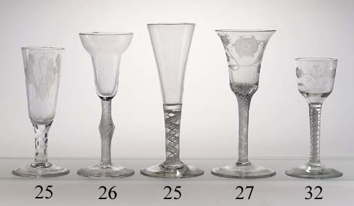 An engraved opaque-twist wine-glass