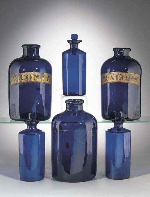 Three amethyst pharmacy bottle
